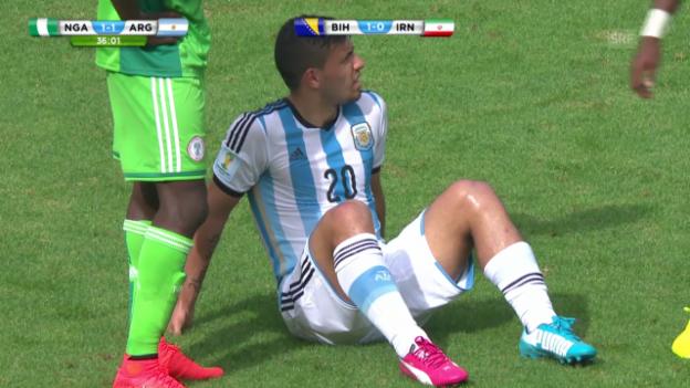 Video «Fussball: WM 2014, Sergio Agüeros Auswechslung gegen Nigeria» abspielen
