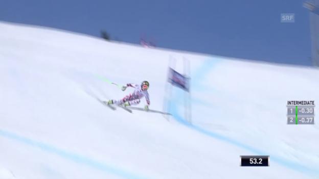 Video «Ski: Weltcup-Super-G in Méribel, Fahrt Fenninger» abspielen