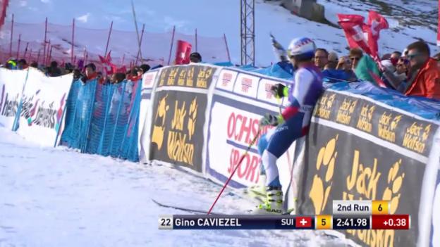 Video «Ski Alpin: Weltcup Adelboden, Riesenslalom, 2. Lauf Caviezel» abspielen
