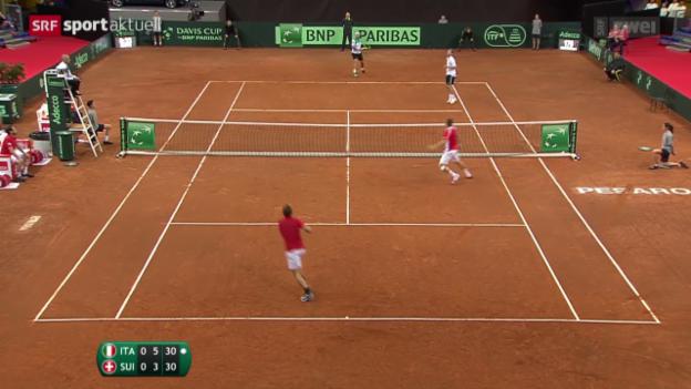 Video «Niederlage im Doppel: Schweiz spielt gegen den Abstieg» abspielen