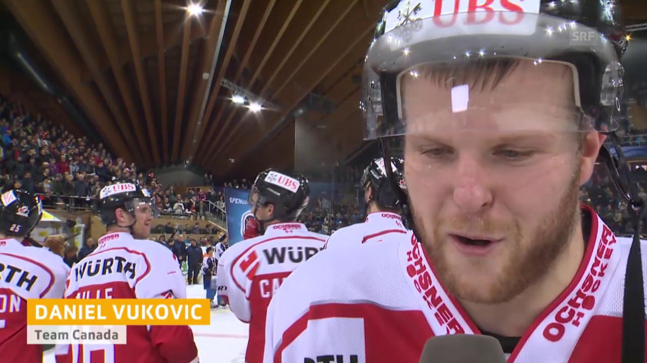 Eishockey: Spengler Cup, Final, Interview Daniel Vukovic