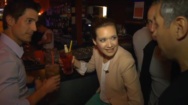 Tobias Müller und Sara Hildebrand bei der dritten Station ihrer Partynacht
