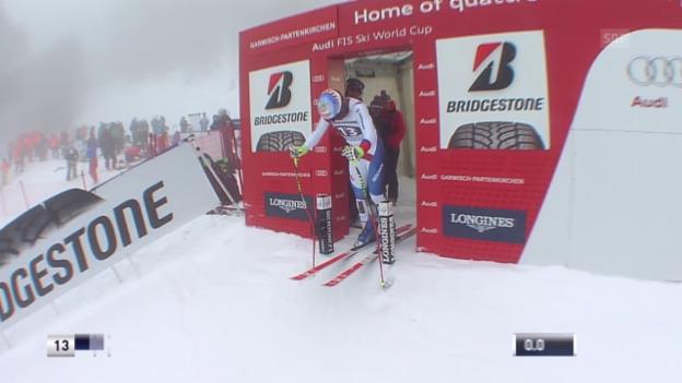 Video «Ski Alpin: Weltcup Garmisch, Abfahrt, Fahrt Défago» abspielen