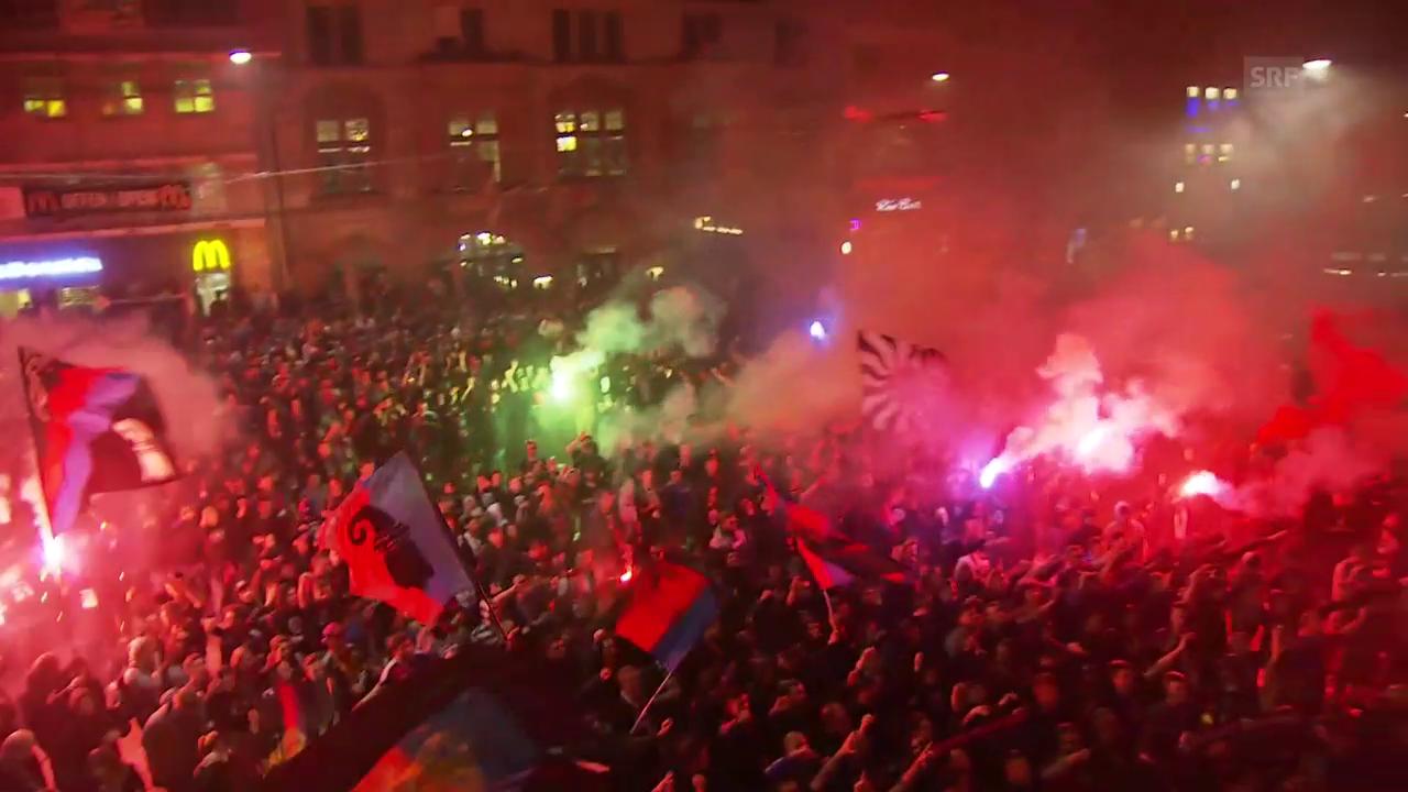 So feierte der FC Basel am Barfüsserplatz