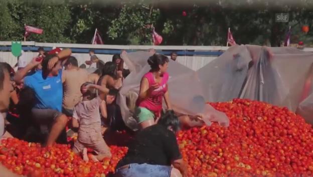Video «Tomatenschlacht in Chile» abspielen