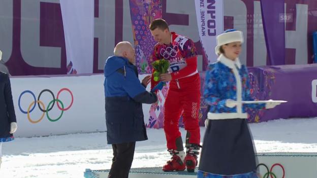 Video «Snowboard: Parallel-RS, Flower-Ceremony mit Nevin Galmarini (sotschi direkt, 19.2.14)» abspielen