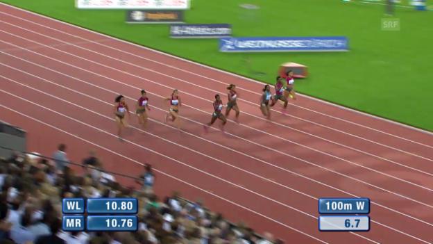 Video «Leichtathletik: Weltklasse Zürich, 100 m Frauen» abspielen
