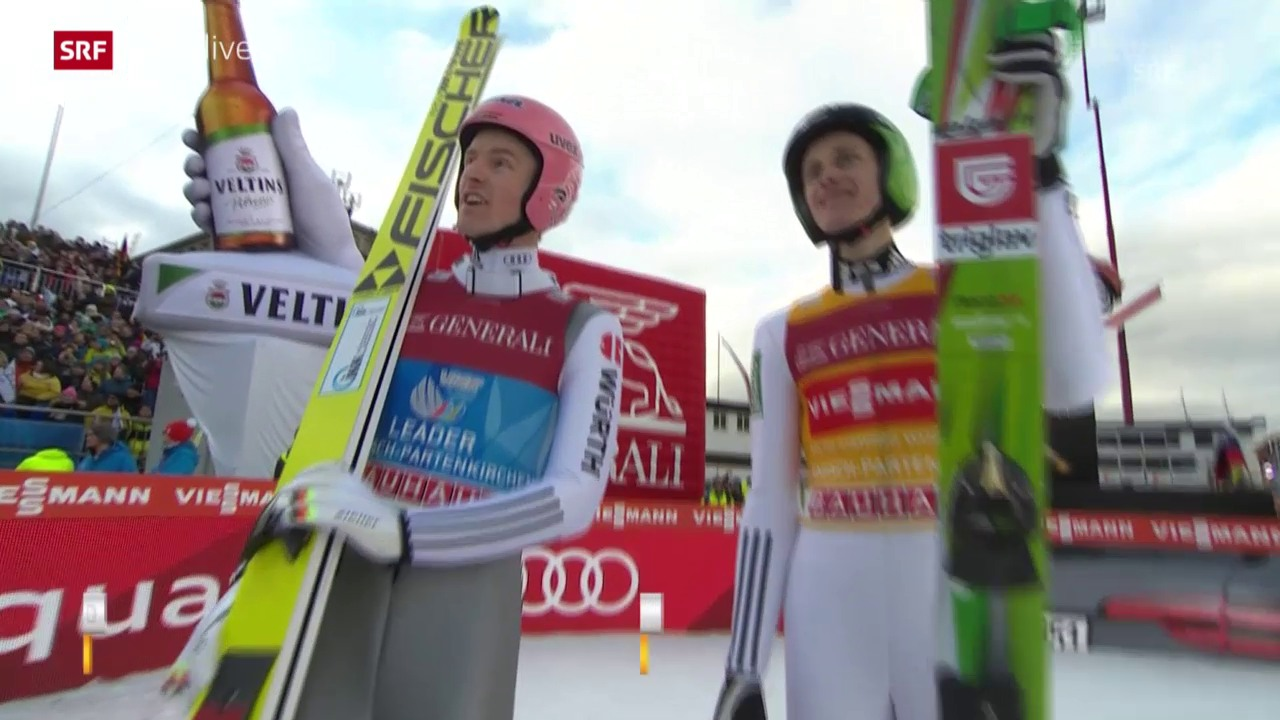 Skispringen: Neujahrsspringen Garmisch, Severin Freund und Peter Prevc, 1. Durchgang