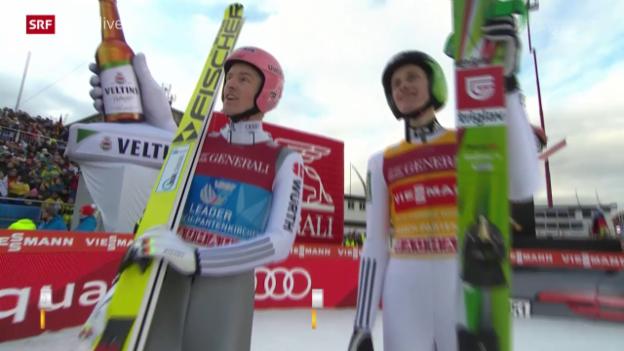 Video «Skispringen: Neujahrsspringen Garmisch, Severin Freund und Peter Prevc, 1. Durchgang» abspielen