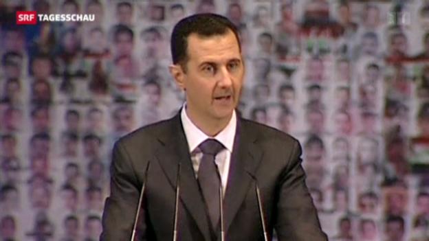 Video «Durchhalteparolen von Syriens Präsident» abspielen