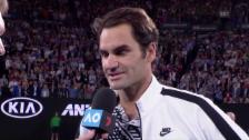 Link öffnet eine Lightbox. Video Federer: «Mein Ziel waren die Viertelfinals» (engl.) abspielen