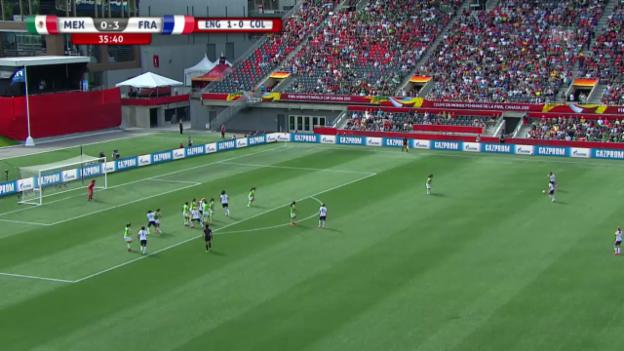 Video «Fussball: Frauen-WM in Kanada, das 4. Tor von Frankreich gegen Mexiko» abspielen