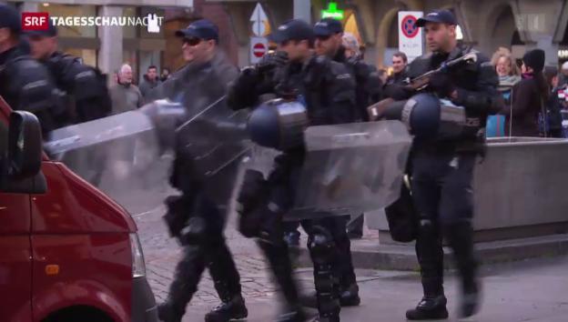 Video «Grosses Polizei-Aufgebot in Basel» abspielen