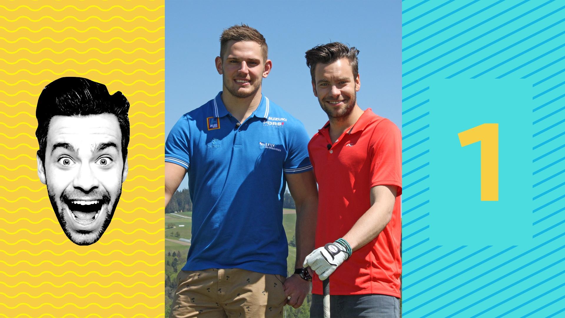 Michel Birri golft mit Remo Käser