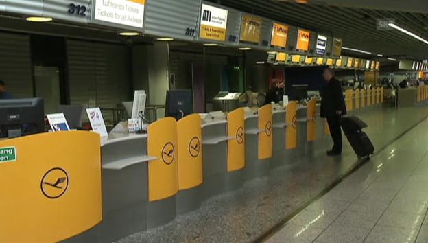 Video «Verwaister Lufthansa-Check-In in Frankfurt» abspielen