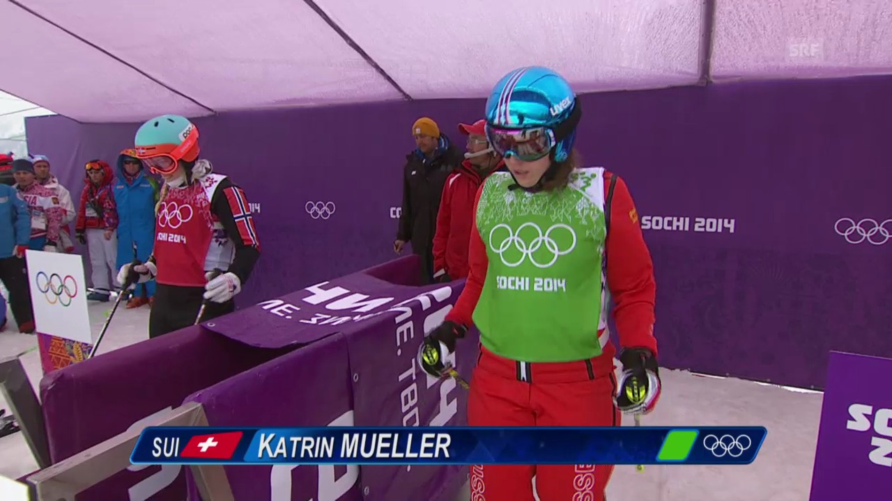 Skicross: Frauen, Achtelfinal mit Katrin Müller (sotschi direkt, 21.2.2014)