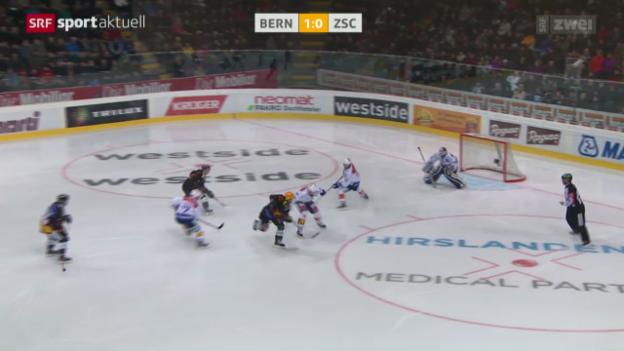 Video «Eishockey: NLA, SCB - ZSC, das 2:0 durch Tristan Scherwey» abspielen