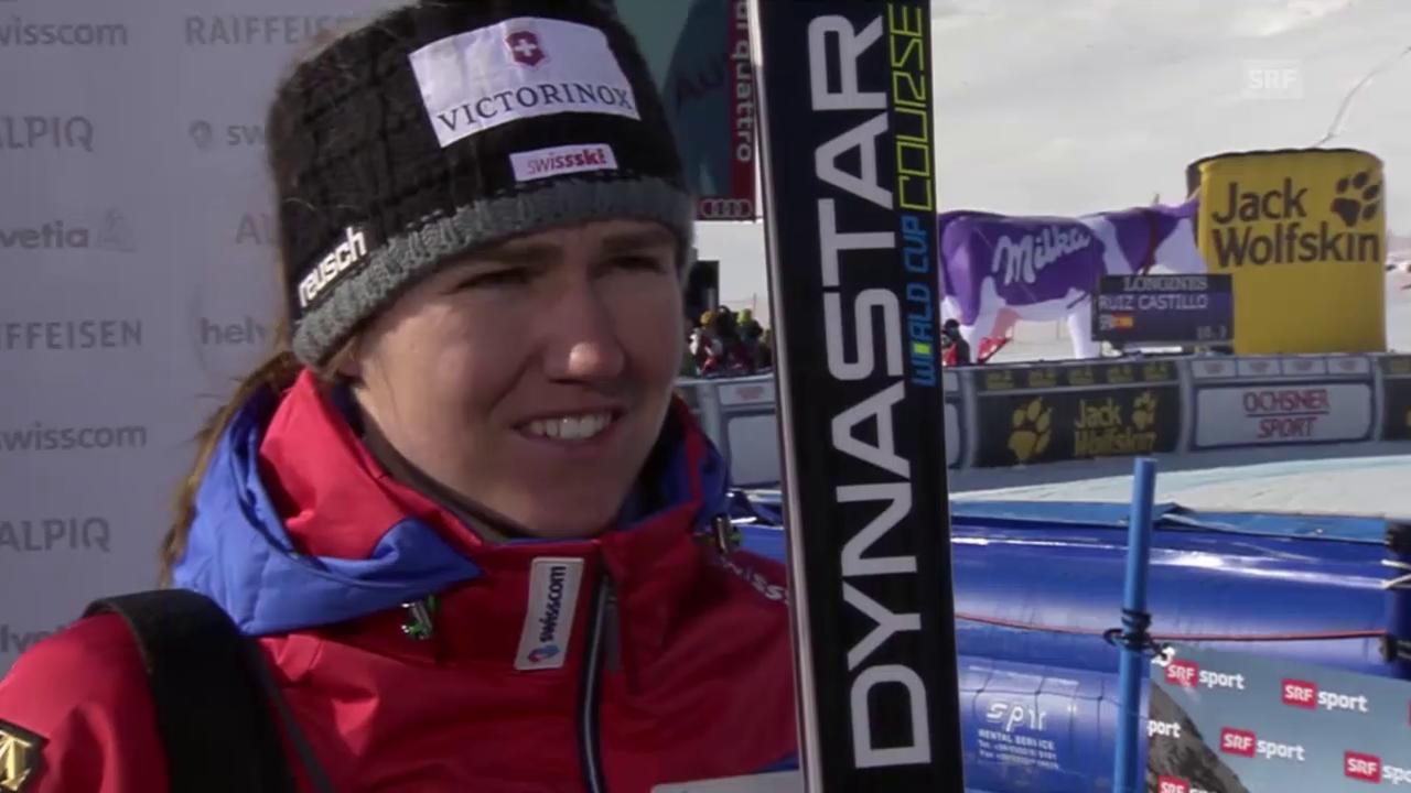 Ski alpin: Weltcup der Frauen, Abfahrt in St. Moritz, Fabienne Suter im Interview