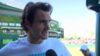 Video «Tennis: Federer vor seinem 9. Wimbledon-Halbfinal» abspielen
