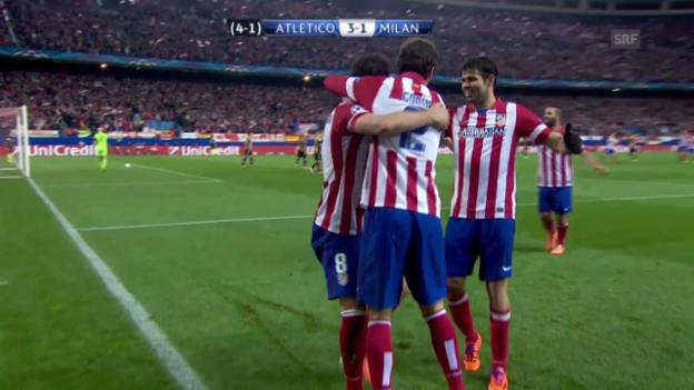 Video «Fussball: Champions League Achtelfinal, Rückspiel, Zusammenfassung Atletico - Milan (11.3.2014)» abspielen