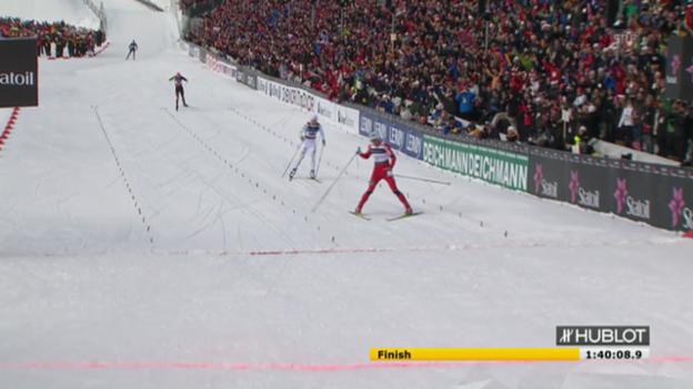 Video «Langlauf: Nordisch WM-2011 Norwegen, Zieleinlauf Männer-Staffel («sportlive», 04.03.2011)» abspielen