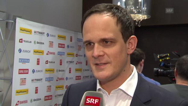 Video «Eishockey: Medienkonferenz Nationalmannschaft, Interview Florian Kohler» abspielen