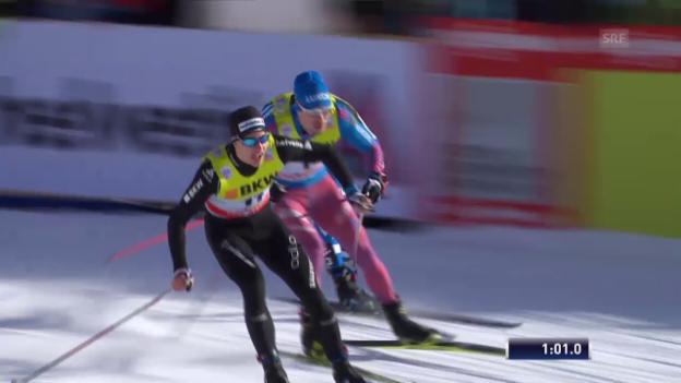 Video «Langlauf, Weltcup Davos, Sprint-Halbfinal mit Roman Schaad» abspielen