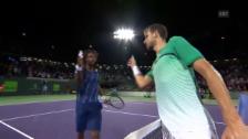 Video «Dimitrov scheitert im Achtelfinal von Miami an Monfils» abspielen