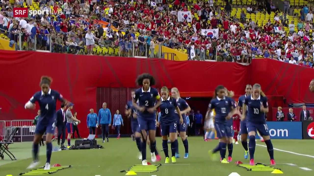 Fussball: Frauen-WM, Achtelfinal, Frankreich - Südkorea, Warmhalten in der Pause
