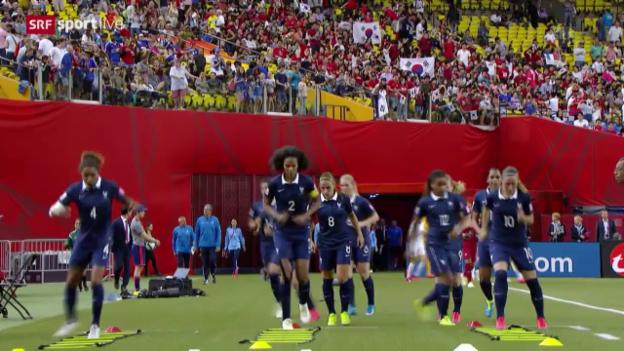 Video «Fussball: Frauen-WM, Achtelfinal, Frankreich - Südkorea, Warmhalten in der Pause» abspielen