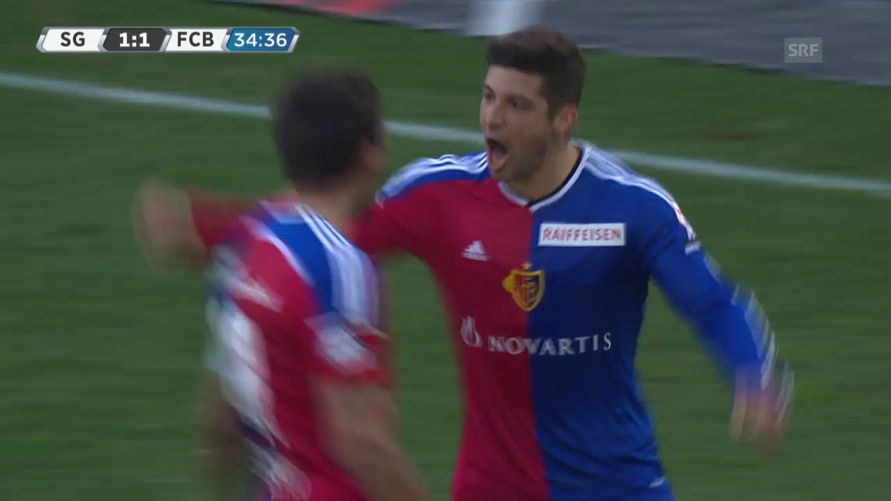 Fussball: Super League, St. Gallen - Basel, das 1:2