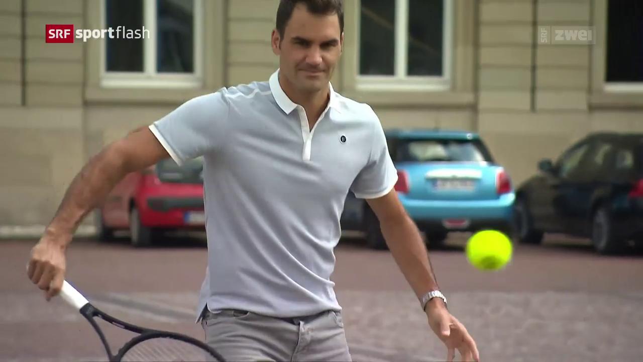 Lockerer Federer spielt auf Kopfsteinpflaster