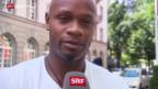 Video «Leichtathletik: Asafa Powell vor dem Meeting in Luzern» abspielen