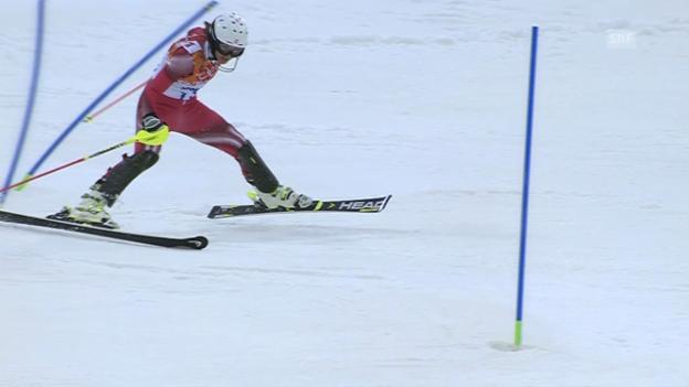 Video «Ski: Slalom der Frauen, Zusammenfassung 1. Lauf (21.02.2014)» abspielen