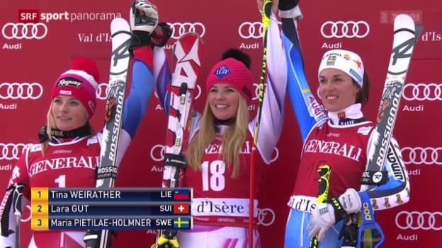Video «Ski: Riesenslalom Frauen in Val d'Isère» abspielen