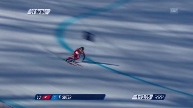 Video «Ski: Abfahrt der Frauen, die Fahrt von Fabienne Suter (sotschi direkt, 12.02.2014)» abspielen