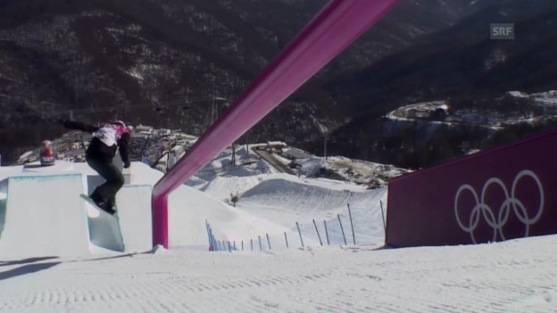 Video «Sotschi: Snowboard Slopestyle Frauen, Qualifikation, 1. Lauf von Isabel Derungs» abspielen