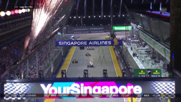 Video «Die Zieleinfahrt von Rosberg und Ricciardo» abspielen