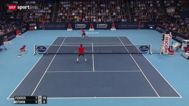 Video «Tennis: Swiss Indoors, Federer - Istomin» abspielen
