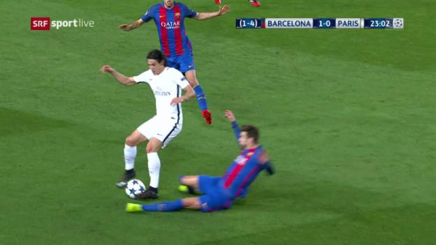 Video «Piqué säbelt Cavani um» abspielen