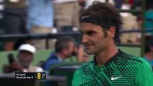 Link öffnet eine Lightbox. Video Bautista Agut fightet – Federer punktet abspielen