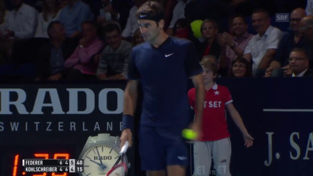 Video «Tennis: Swiss Indoors: Federer - Kohlschreiber: Der Matchball» abspielen