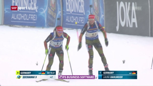 Video «Deutsche Biathlon-Staffel holt Gold» abspielen