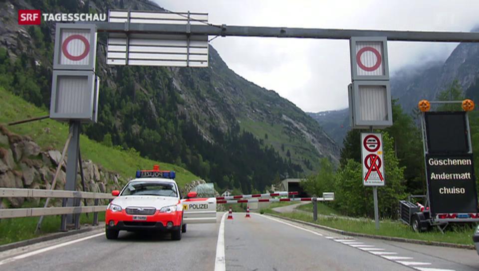 Gotthardpass nach Felssturz gesperrt