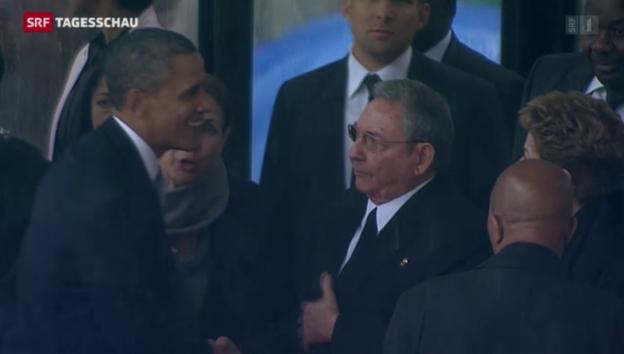 Video «Obamas Handshake mit Raul Castro» abspielen