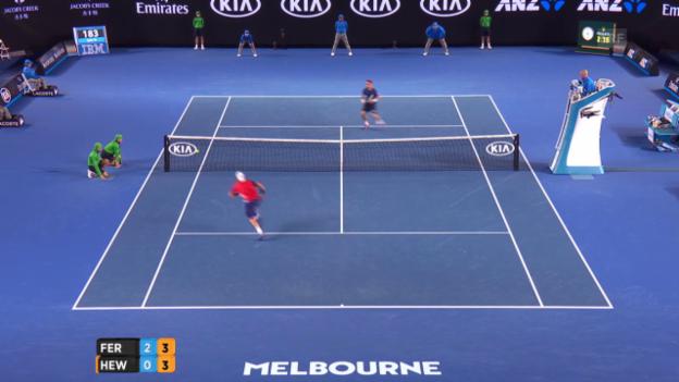 Video «Hewitt sorgt gegen Ferrer noch einmal für Spektakel» abspielen