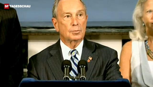 Michael Bloomberg, Bürgermeister von New York, nimmt Stellung zum Verbot (Originalton Englisch).