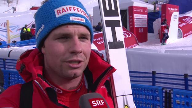 Video «Ski: WM, Beat Feuz Interview nach 1. Training Abfahrt» abspielen