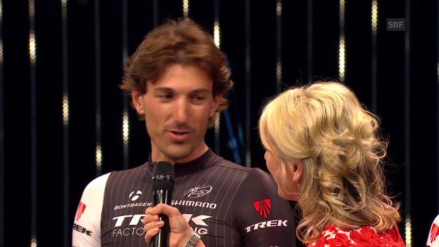 Video «Fabian Cancellara bei der Team-Präsentation» abspielen