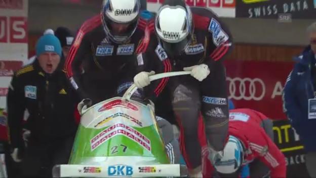 Video «Bob: 3. Lauf von Friedrich an der Bob-WM in St. Moritz» abspielen